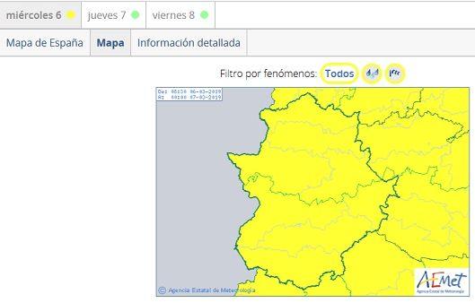 La AEMET amplía la alerta amarilla por lluvias y vientos a toda Extremadura
