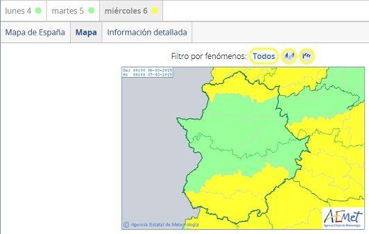 Alerta amarilla ante la previsión de lluvias y vientos en Extremadura
