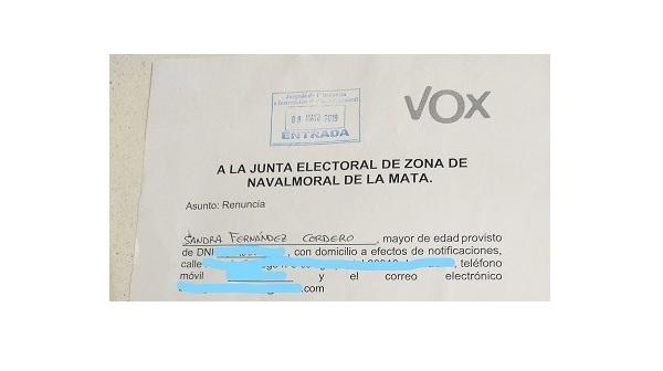 Sandra Fernández Cordero presenta la prueba de que en VOX no la apartan