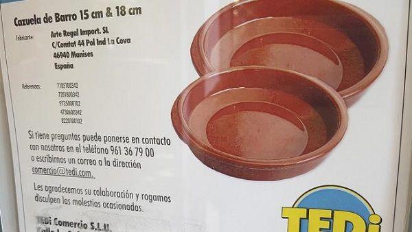 Alertan del alto contenido de aluminio en cazuelas de barro vendidas en TEDi