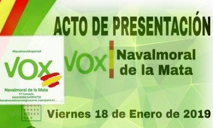 Vox Navalmoral celebra hoy el acto de su presentación