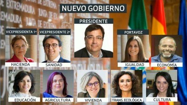 Fernández Vara da a conocer el nuevo gobierno de la Junta de Extremadura
