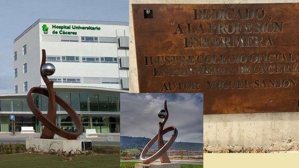 Homenaje a la enfermería en el HUC con una escultura de Miguel Sansón