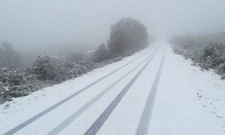 La nieve ha hecho acto de presencia en Piornal