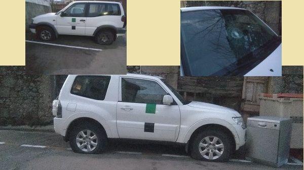 Destrozan dos vehículos de agentes del medio natural, en Villanueva de la Vera
