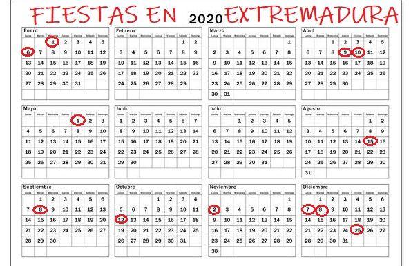 Calendario de días festivos en Extremadura para el año 2020