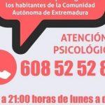 El Colegio Oficial de Psicólogos de Extremadura habilita un Tf para atender a afectados por el Covid19