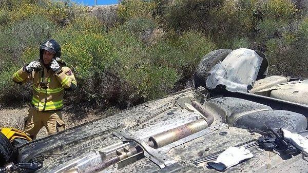 Un herido grave al volcar su vehículo en Madrigal de la Vera