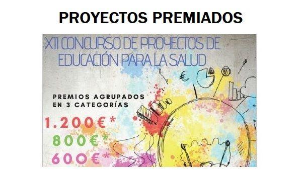 Proyectos premiados en la XII Concurso de Educación para la Salud 2020