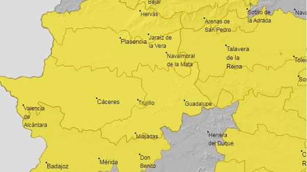Alerta amarilla por lluvias y vientos en la provincia de Cáceres