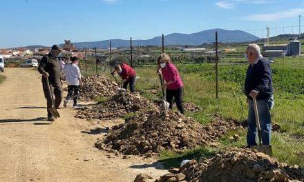 Vecinos de Villar del Pedroso plantan árboles en el Camino Real de Guadalupe