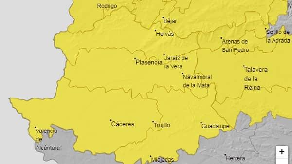 Alerta amarilla por lluvias y tormentas en la provincia de Cáceres