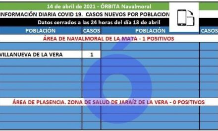 El área de Navalmoral registra 1 caso positivo en Villanueva de la Vera