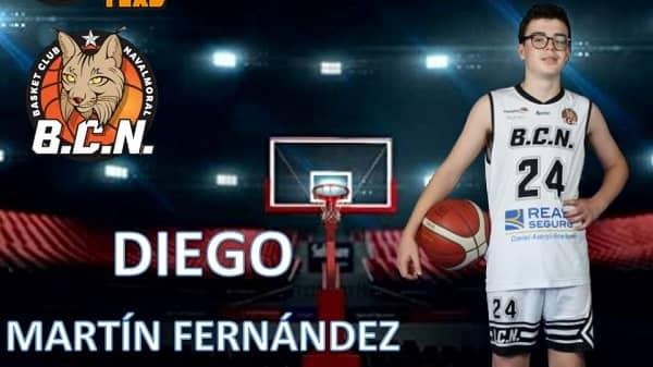 El jugador alevín del BCN, Diego Martín, convocado por la Selección Extremeña de Minibasket
