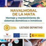 Listado definitivo del curso Montaje y mantenimiento de sistemas domóticos e inmóticos, ISLA IV
