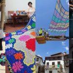 Valverde de la Vera instala de nuevo los parasoles de Tejiendo la Calle