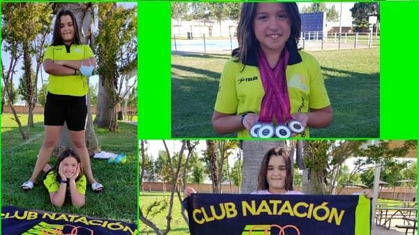 Lucía Carvajal del CN Moralo, campeona y triple subcampeona en el Cto. de Extremadura Alevín-Copa Judex