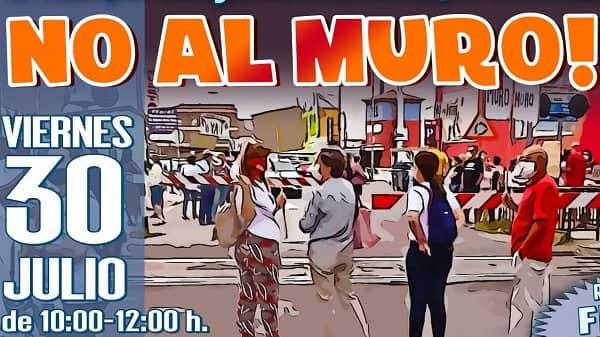 NO AL MURO cambia sus concentraciones a los viernes en el Mercadillo de 10:00h a 12:00h