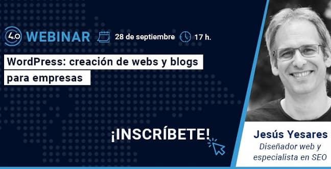 Conecta Pyme 4.0  imparte el webinario: WordPress: creación de webs y blogs para empresas